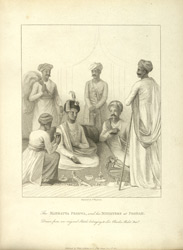 The Mahratta Peshwa, and his ministers at Poonah. Drawn from an original sketch belonging to Sir Charles Malet Bart.